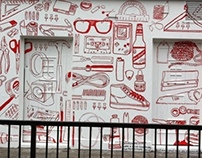 Red Stripe wall mural
