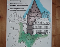 Colouring book with castles of Luxembourg / Molbuch mat