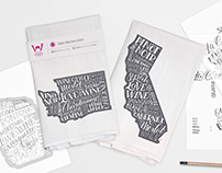 Wine & state themed hand lettering and package design