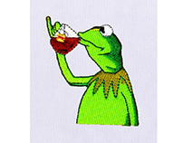 FANCY AND POSH KERMIT THE FROG EMBROIDERY DESIGN