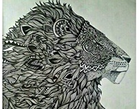 Black Ink Work : Lion