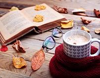 Autumn mood. Book,coffe, leaves