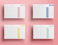 Planner mensal com gastos fixos e extras.