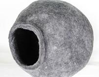 Handmade Felted Wool Cat Bed - WoolWalker.com