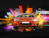Geometric car advert illustrations