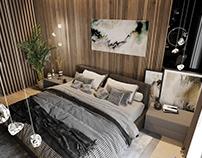 3D визуализация спальни. дизайн Mossebo