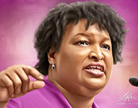 Stacey Abrams Digital Painting by Wayne Flint