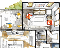 Real Estate Watercolor 3D Floor Plan I