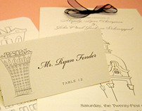Wedding Invitation, Place Card, Program