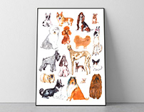 Dogs. Watercolor poster