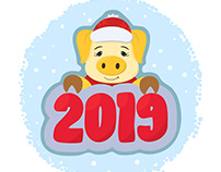Christmas pig 2019. Symbol of the Chinese new year