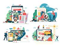 Company website vector Illustrations