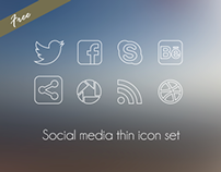 Free social media thin icon set