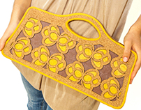 "Ecochic bag ""Farfalle"" made with cork and paper"