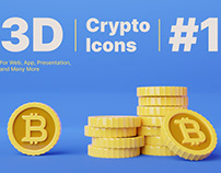 3D Bitcoin Cryptocurrency Icons