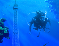 Underwater Eiffel Tower Photo Composition