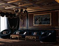 Dark livingroom 3D-Visualization&Design