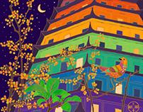 Six Harmonies Pagoda in Rainbow Colors