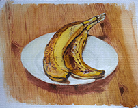Two Bananas - Still life watercolour painting