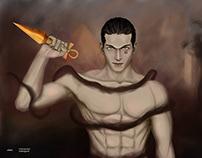 Ninja pharaoh illustration