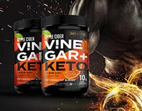 Apple Vinegar + Keto, dietary supplements label design