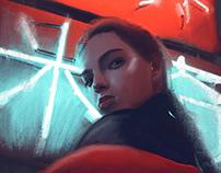 Neon Girls oil portrait