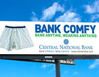 Billboard for Central National Bank.