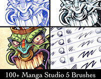 Manga Studio 5 Custom Brushes, Tiki Head Illustration