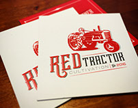 Red Tractor Cultivation logo and business cards