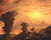 """Sonnenuntergang"" by unikatdesign, digital painting, iP"