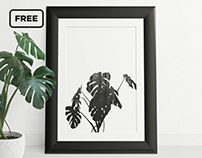 Free picture frame mockup with monstera