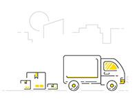 Shipping Truck - Lineicon Illustration