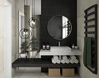 Łazienka z czarną płytką