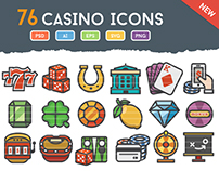 76 Casino & Gambling Icons Set