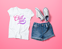 Girl's Crew Neck T-shirt Mock-up Template