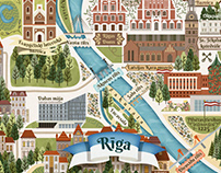 Riga Map Postcard