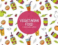 Vegetarian Food Illustration Vector Free Pattern