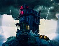 Spooky house on Halloween