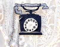 Brooch retro phone