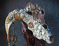 RENEWAL RITE Ram Skull Altar Art
