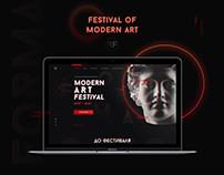 Landing page. Website of modern art festival