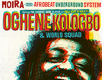 Flyer of Afrobeatparty with Oghene Kologbo at Moira