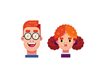 Flat Design Characters, Boy and Girl Illustration