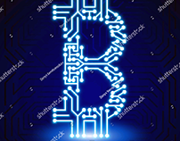 Neon art bitcoin. Vector illustration