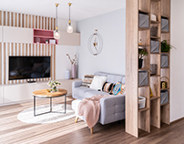 Living room & kitchen design