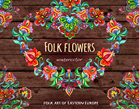 Folk flowers. Watercolor