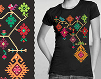 "Bulgarian ethno T-shirt, ""Autumn vine"" motive"