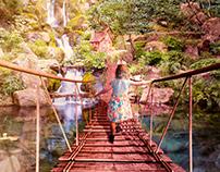 Girl walk on the bridge (Photo manipulation)