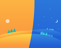 Clean illustration for day and night
