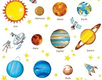 Planets in the Space Wall Stickers